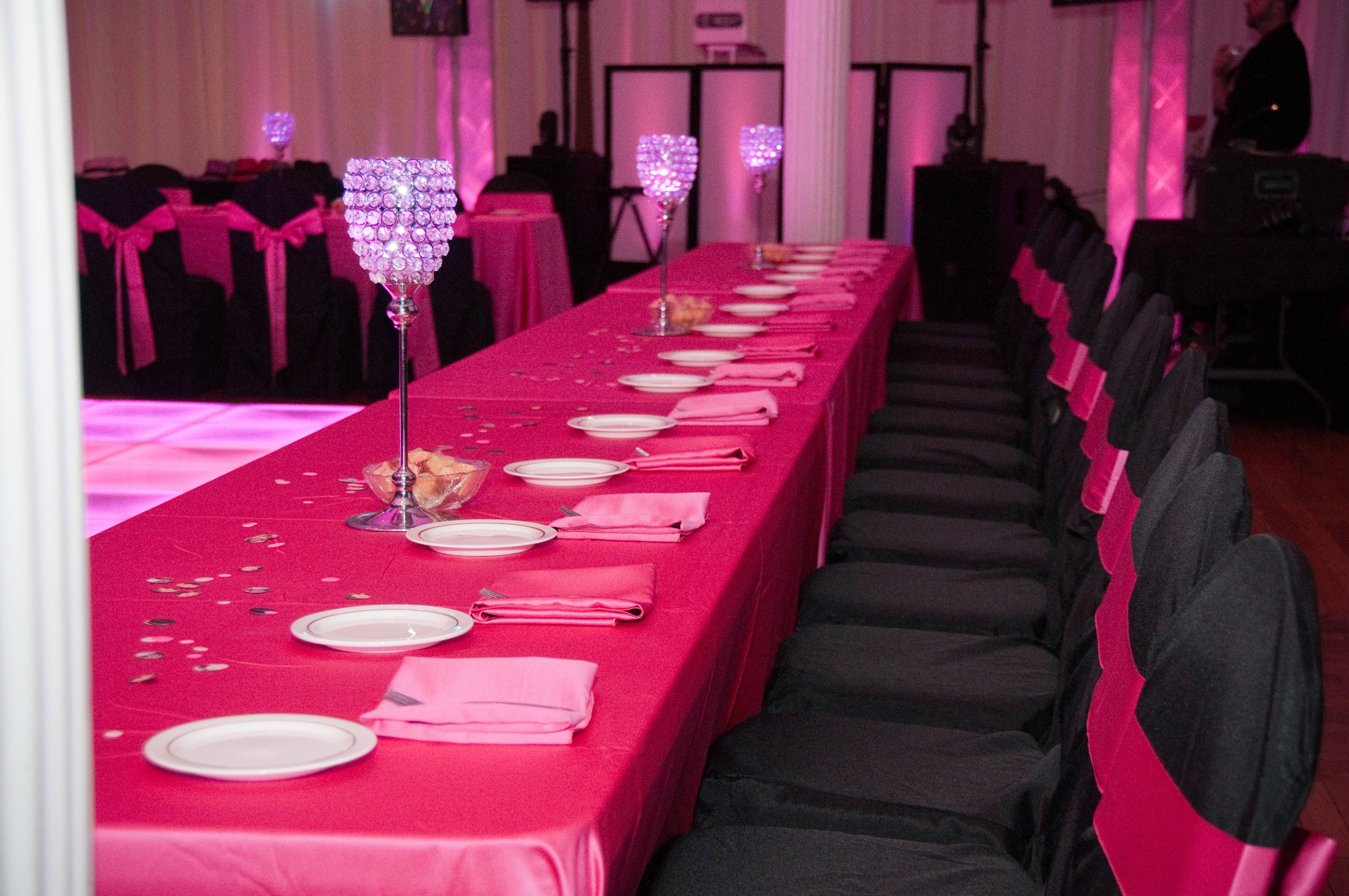 Pink Black Linens Chair covers