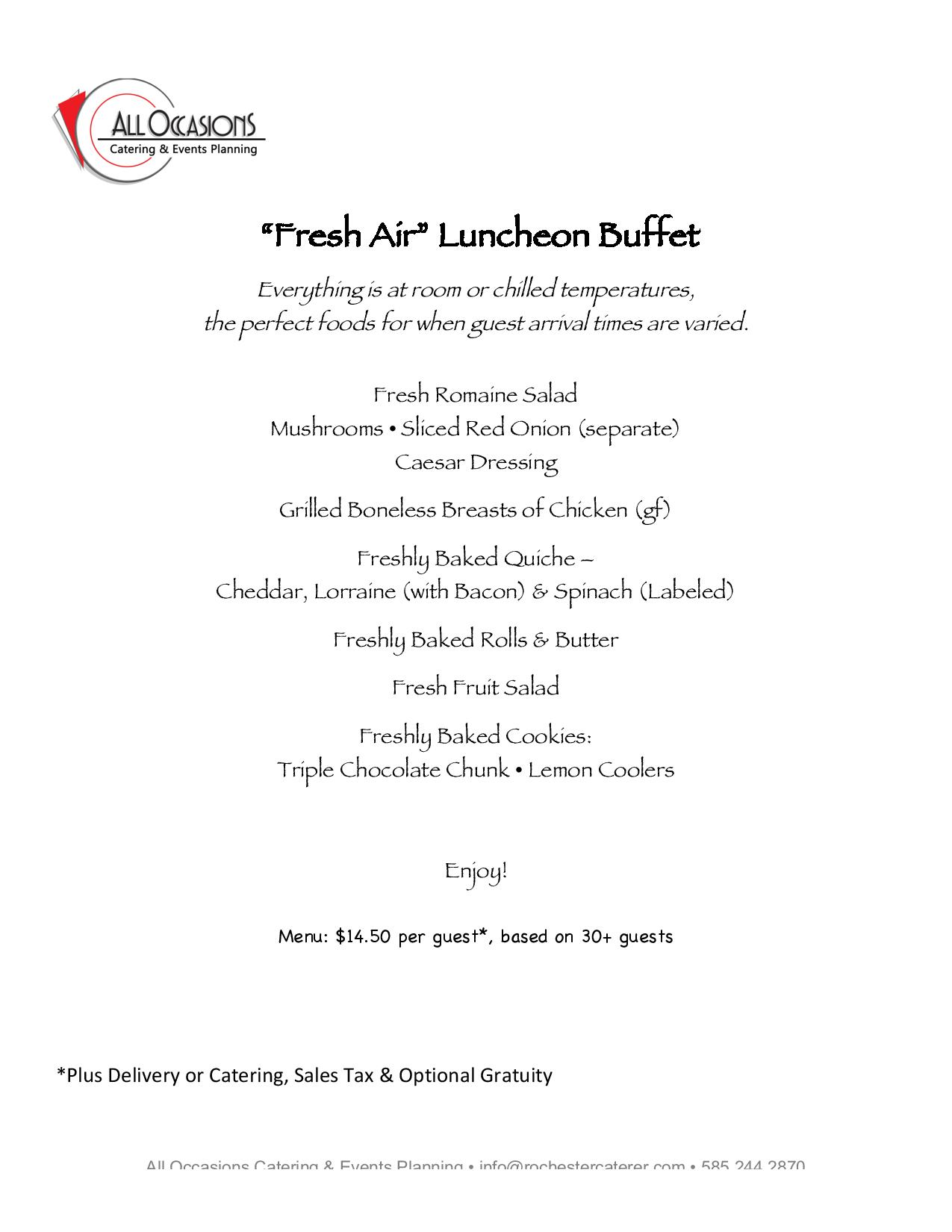 Luncheon Buffet, Corporate Value Menu