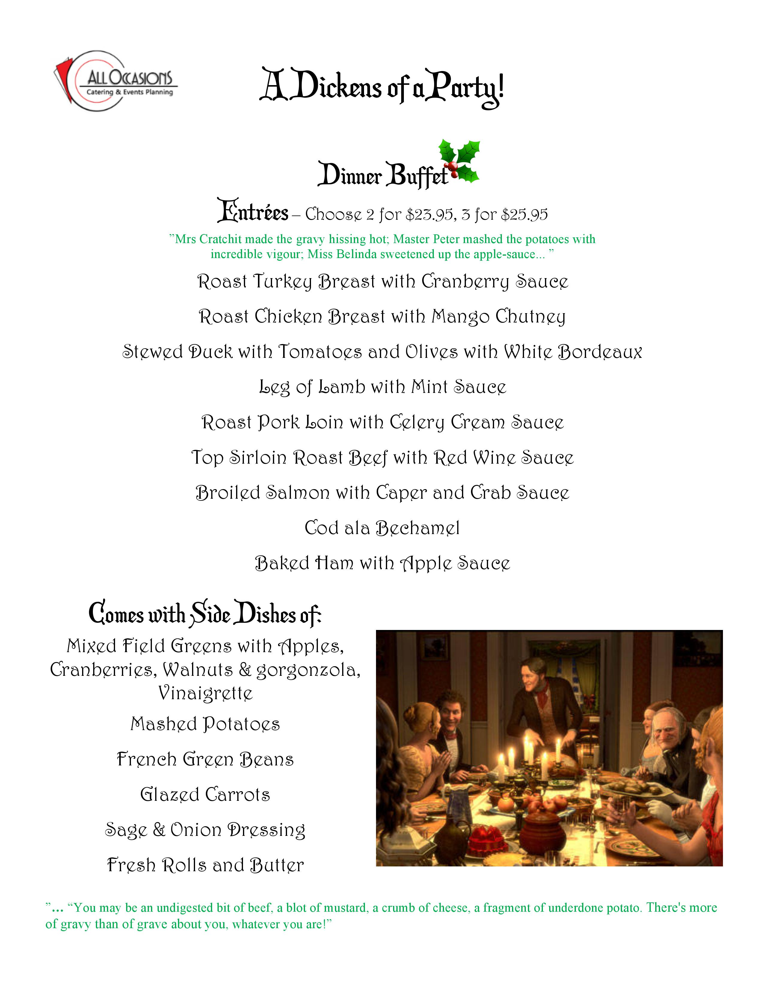 Holiday Dinner Menu, Christmas Menu