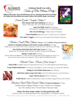 Taste of New Orleans Menu